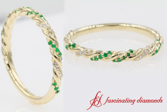 Twisted Emerald Wedding Band