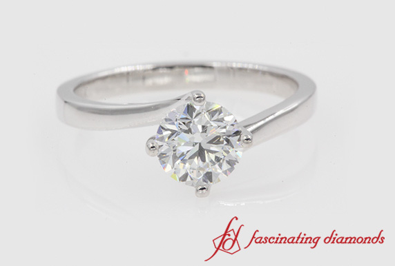 Unique Swirl Diamond Solitaire Ring