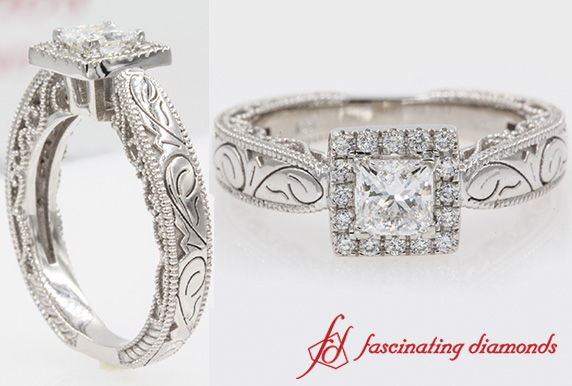 Filigree Square Halo Ring