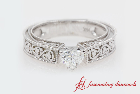 Vintage Heart Cut Solitaire Engagement Ring In White Gold