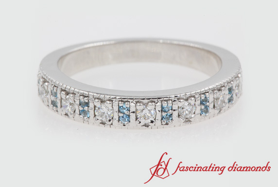 Pave Wedding Band With Topaz