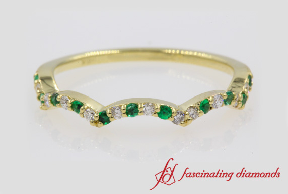 Wave Custom Band With Emerald