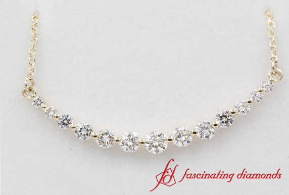 One Carat Graduated Diamond Necklace