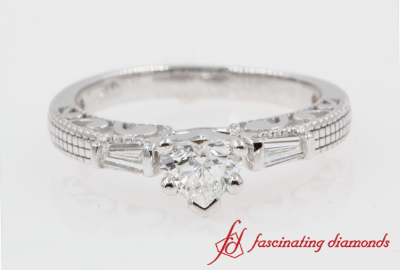 Antique Engraved 3 Stone Engagement Ring
