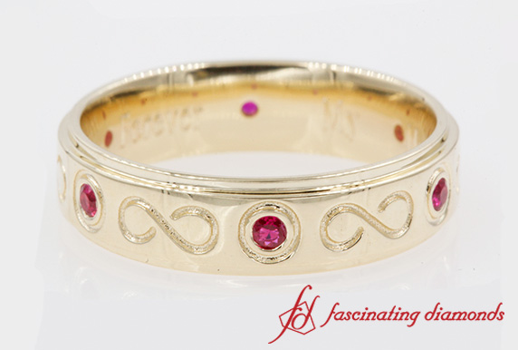 Bezel Set Ruby Male Wedding Band