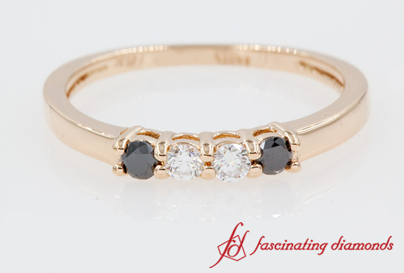 Black Diamond Four Stone Wedding Band