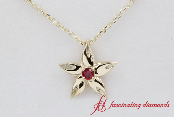 Ruby Solitaire Flower Pendant
