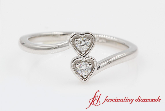 2 Heart Diamond Crossover Ring