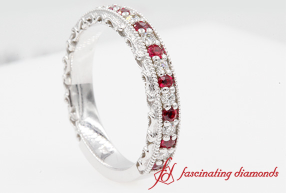 Milgrain Hand Engraved Ruby Band