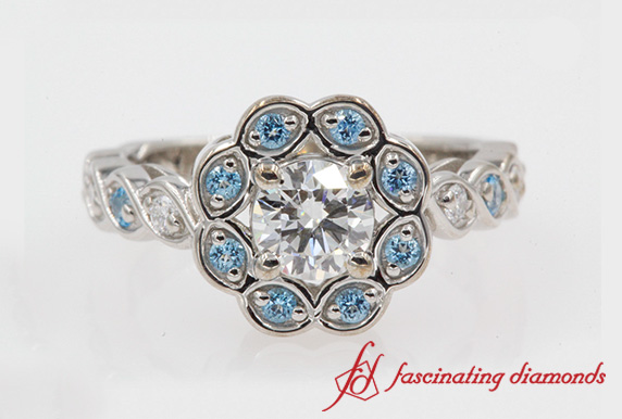 Flower Halo Pave Diamond Ring With Blue Topaz In 18K White Gold-FD1130ROR