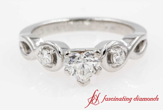 Heart shaped Diamond Engagement Ring In White Gold-FD1154