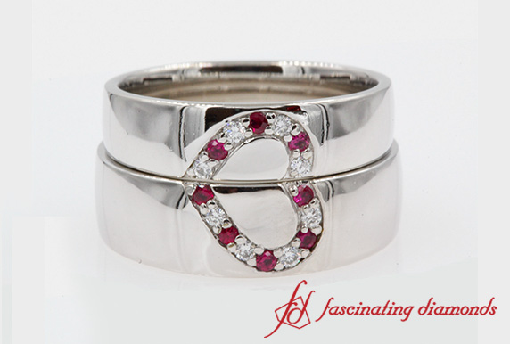 His and Her Wedding Band With Ruby In 14K White Gold-FD1144B