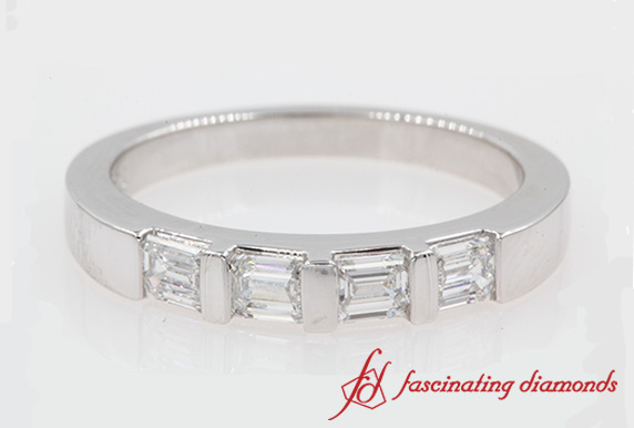 Horizontal Baguette Wedding Band