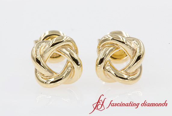 Knot Stud Earring For Women In Yellow Gold