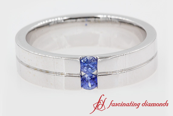 Mens 2 Stone Wedding Band With Sapphire