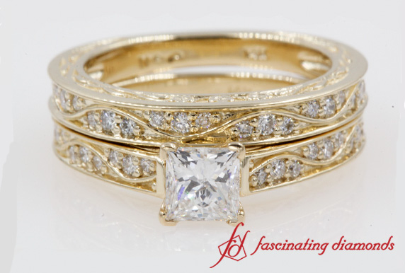 Princess Cut Antique Wedding Set