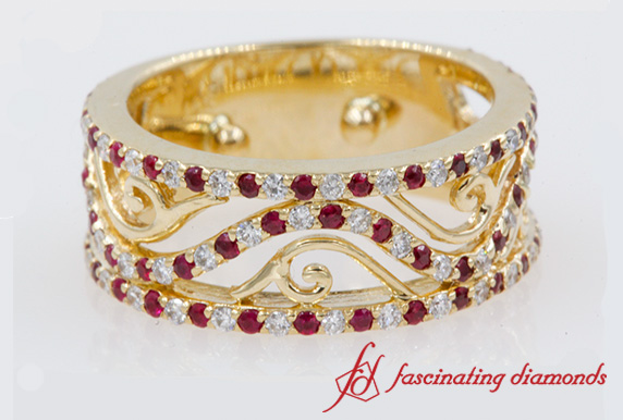 Ruby Filigree Wide Diamond Wedding Band