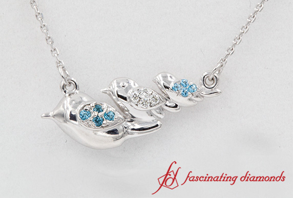 Three Bird Diamond Necklace In Sterling Silver