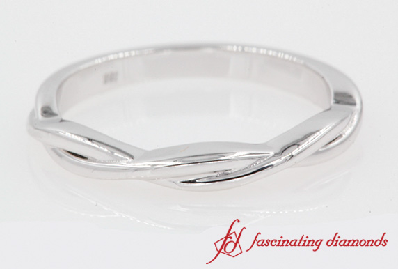 Twisted Vine Wedding Band In 18k White Gold-FD8252B