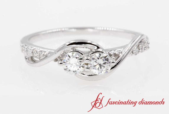 Two Stone Diamond Swirl Ring In Platinum