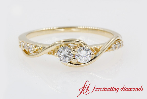 2 Stone Diamond Swirl Ring