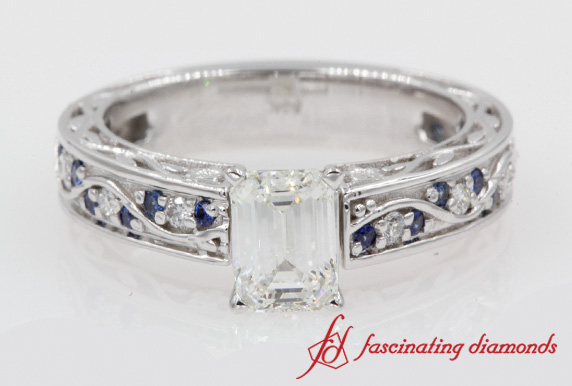 Filigree Antique Emerald Cut Ring