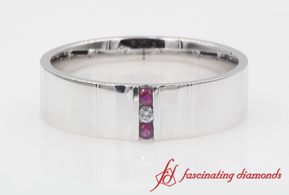 White Gold Band With Ruby