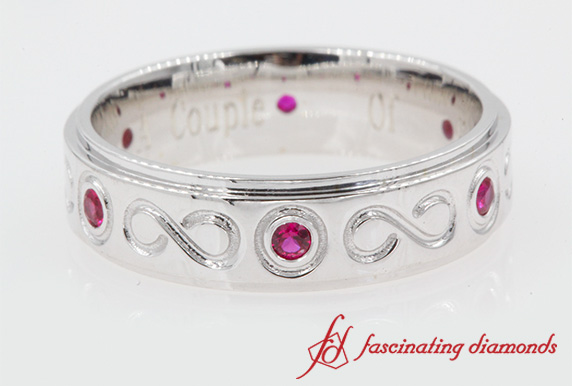 Bezel Set Mens Ruby Wedding Band