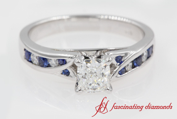 Cushion Cut Channel Split Shank Ring