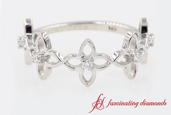 Daisy Flower Diamond Wedding Band