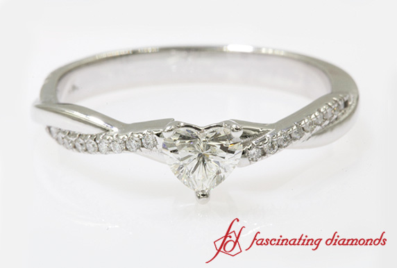 3/4 Carat Heart Diamond Twisted Ring