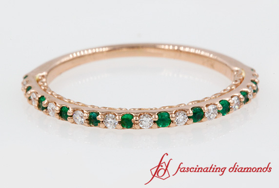 Micropave Thin Diamond Band With Emerald In Rose Gold