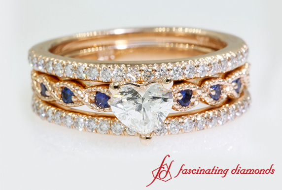 Trio Heart Diamond Wedding Set