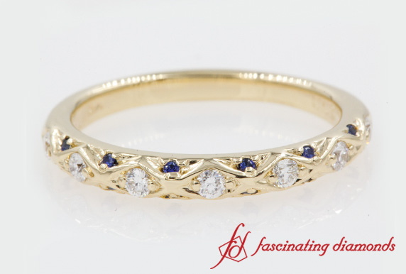 Customized Pave Cross Diamond Wedding Band With Sapphire In Yellow Gold