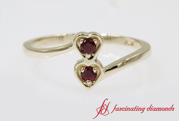 Ruby 2 Stone Crossover Promise Ring