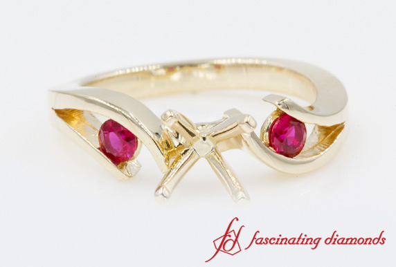 Gold Semi Mount Ring With Ruby
