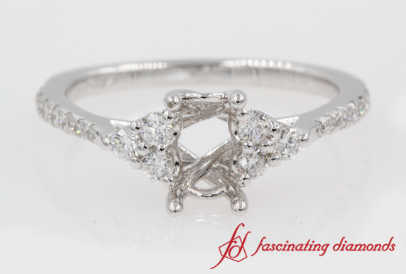 Semi Mount Petite Cathedral Diamond Ring