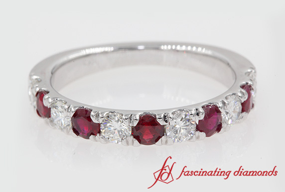 1 Carat Diamond & Ruby Wedding Band