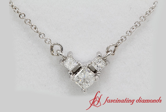 a2c1ae5e4ef90 3 Princess Cut Diamond Pendant Necklace In 18k White Gold ...