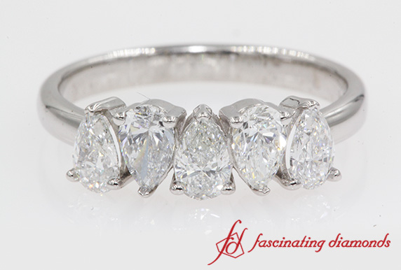5 Stone Pear Diamond Wedding Band