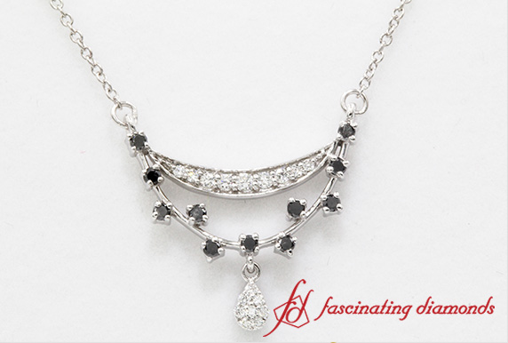Black & White Diamond Drop Pendant