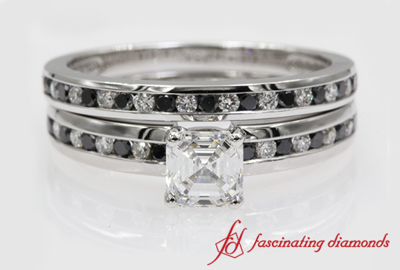 Asscher Cut Wedding Set With Black Diamond