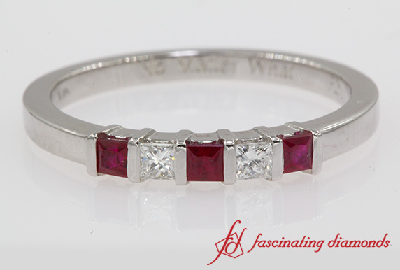 Bar Set Princess Cut Wedding Band