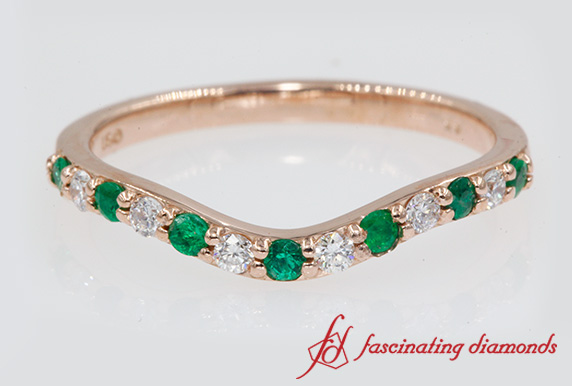 Curved Wedding Band With Emerald