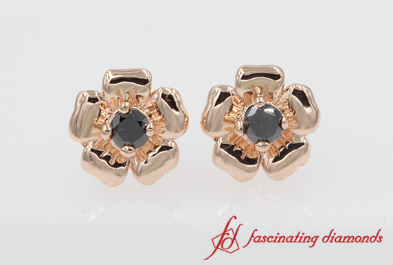 Black Diamond Daisy Stud Earring