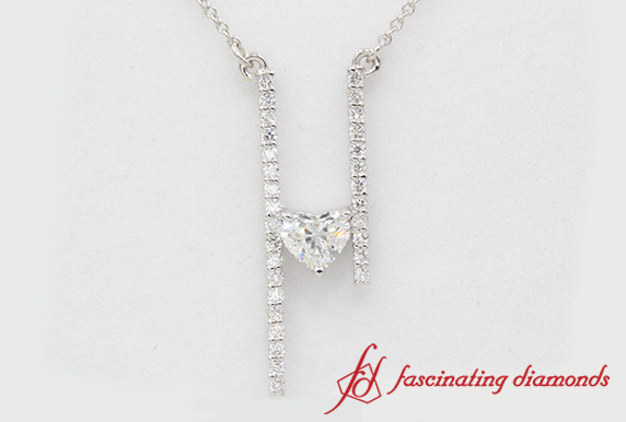 Long Heart Diamond Bar Necklace