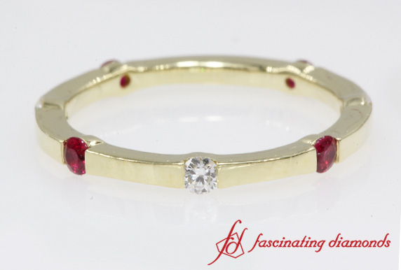 Half Bezel Ruby Eternity Band