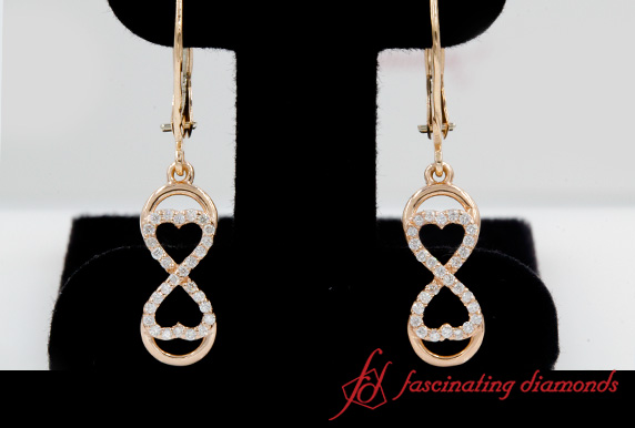 Infinity Diamond Drop Dangle Earring In Rose Gold