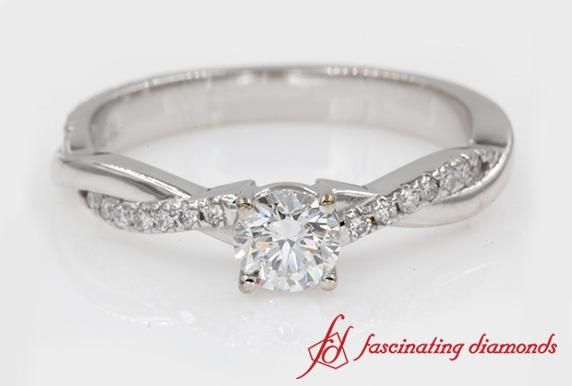 Infinity Twist Round Cut Diamond Engagement Ring