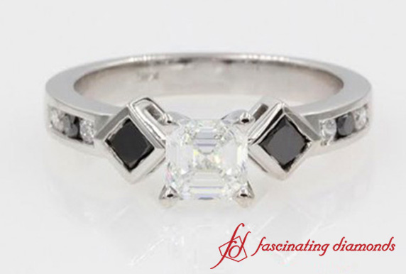 Kite Set Asscher Cut Ring